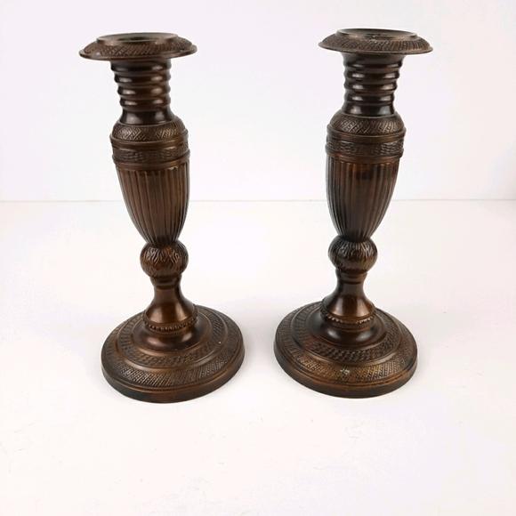 Solid bronze brass candlestick pottery barn arhaus